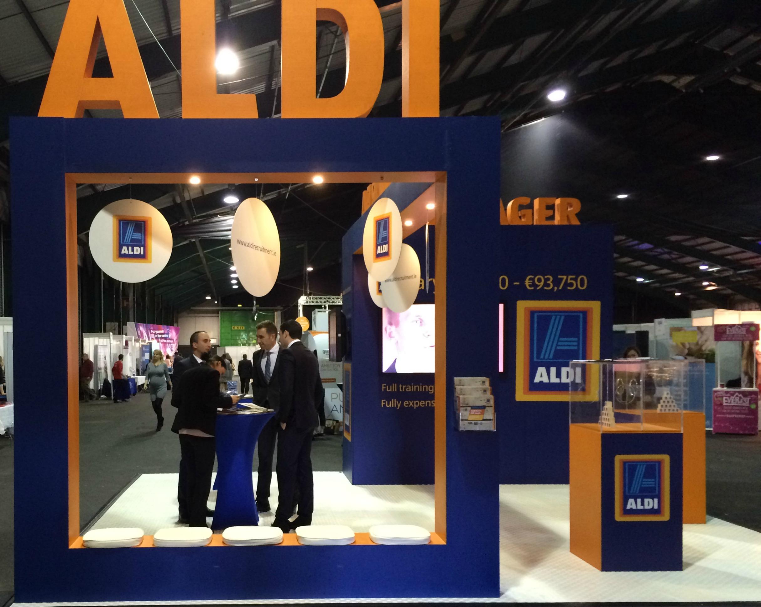 Aldi Stand Grad Ireland Fair for Pluto Communications