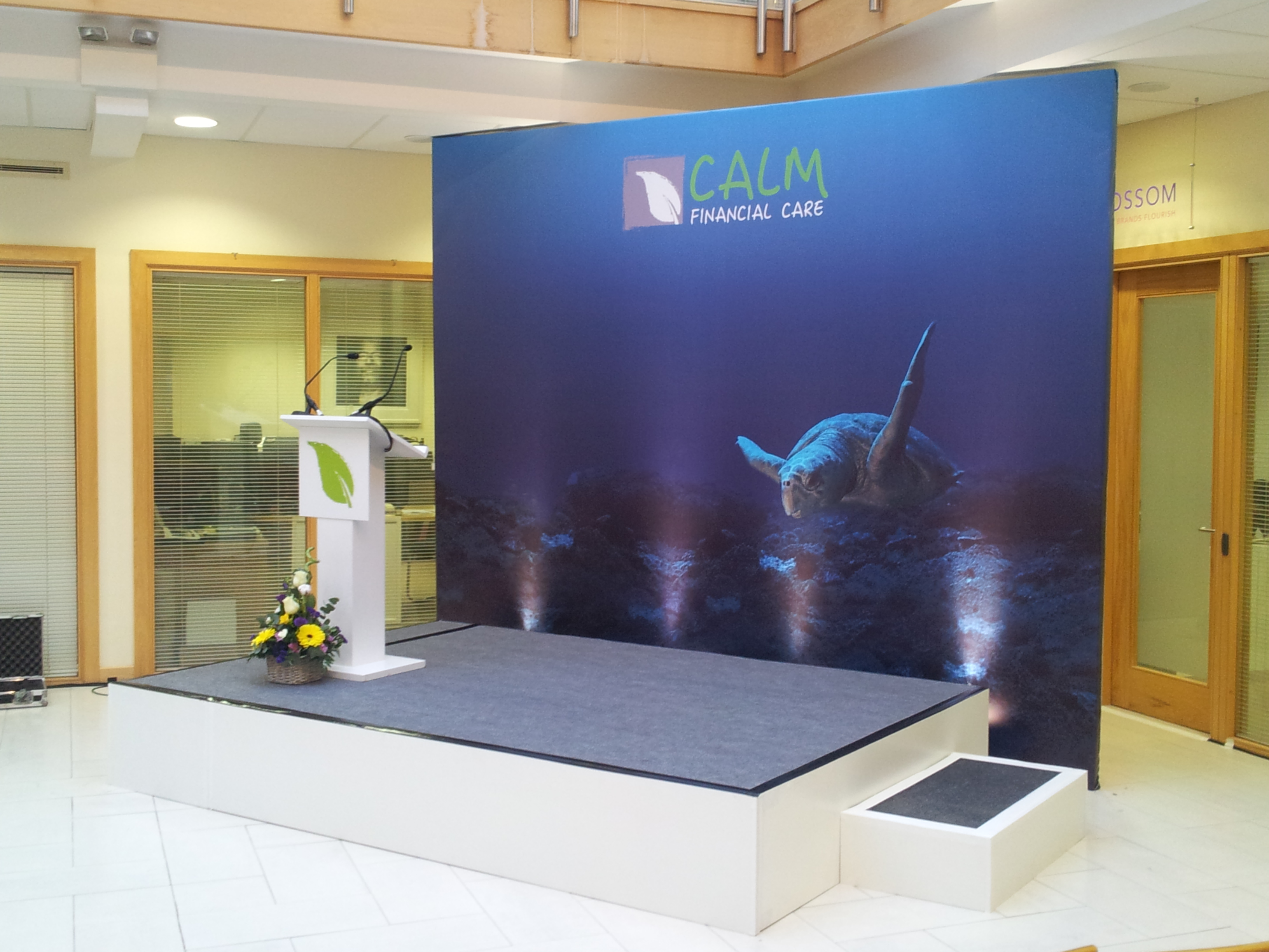 Backdrop and Stage for Calm Financial Care in association with Carr Communications