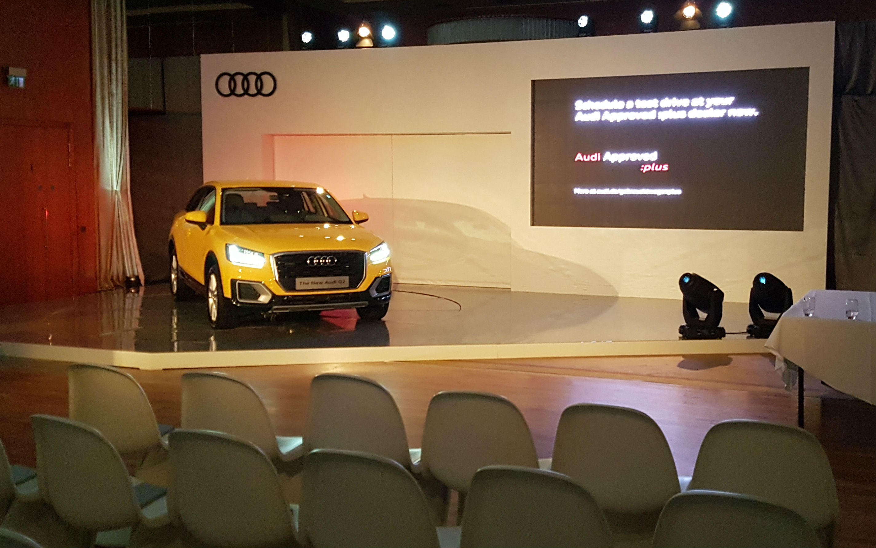 Backdrop and Revolving Stage for Audi Q2 launch in association with Pluto Events