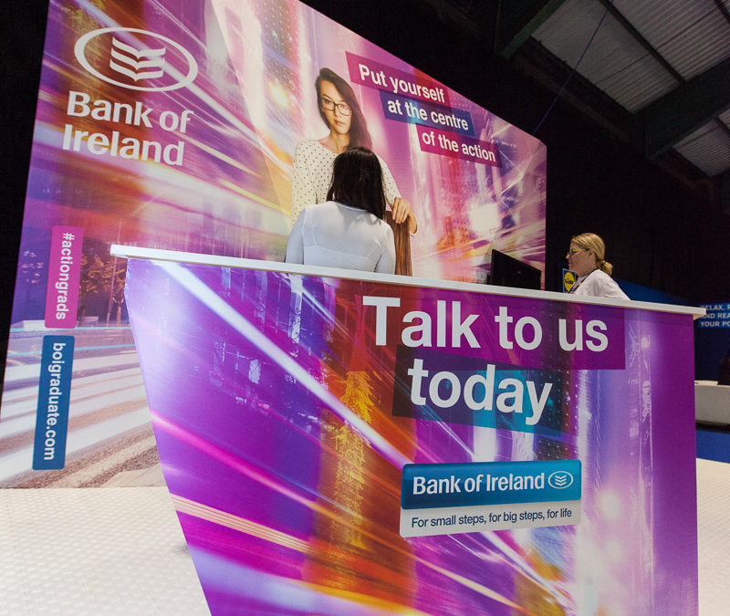 Bank of Ireland stand at Grad Ireland Grad Fair in association with Pluto Events