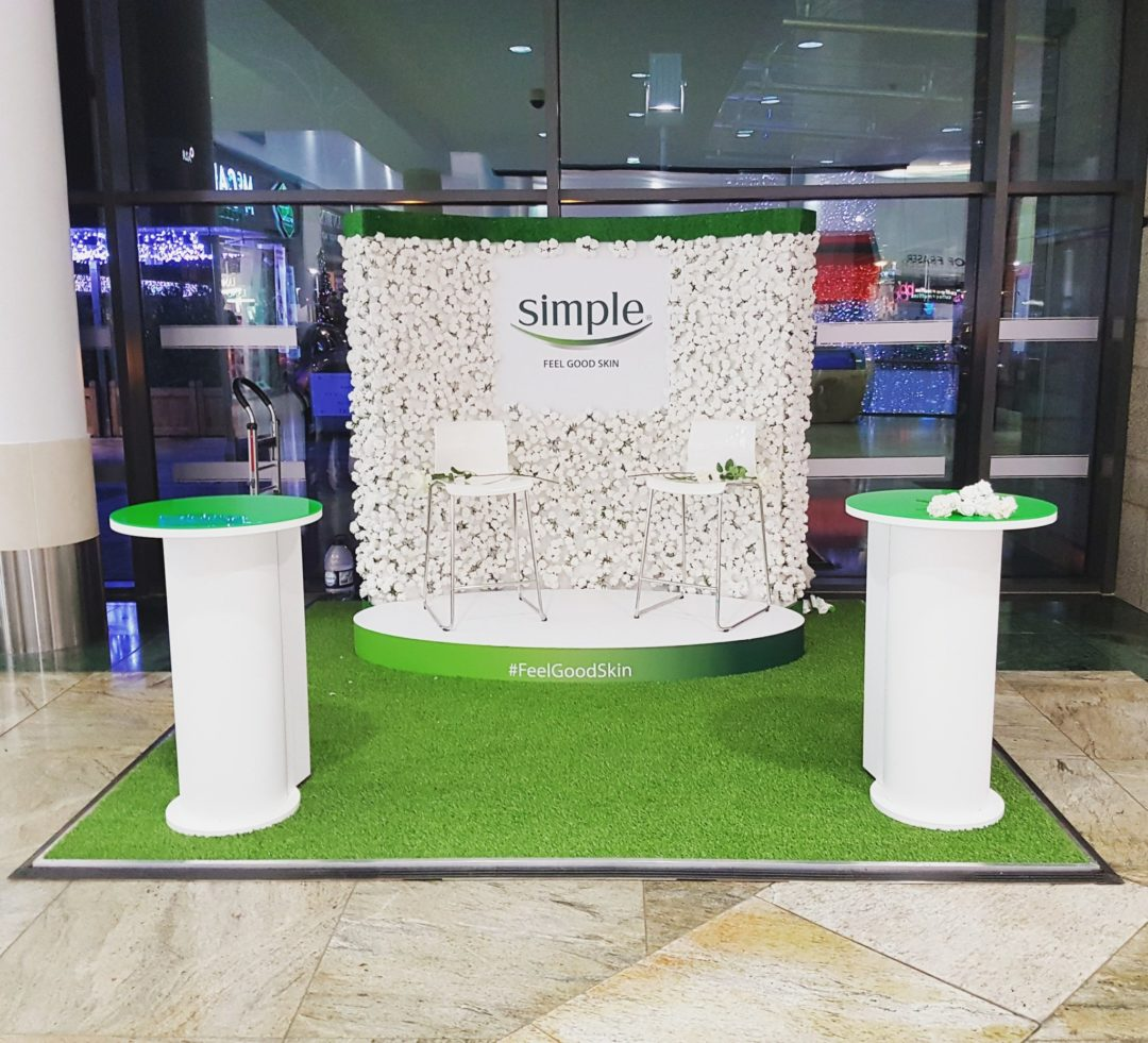 Simple Skincare stand in association with Runway Marketing